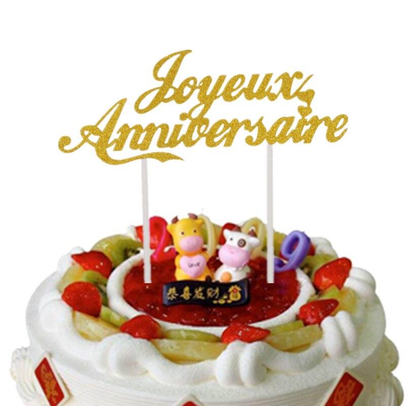 Настраиваемые французские флажки для торта, Топпер для торта на годовщину, Свадебный юбилей, вечерние украшения для торта, Anniversaire Joyeux