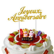 Customised French Cake Flags Happy Anniversary Topper Wedding Party Decor Joyeux Anniversaire
