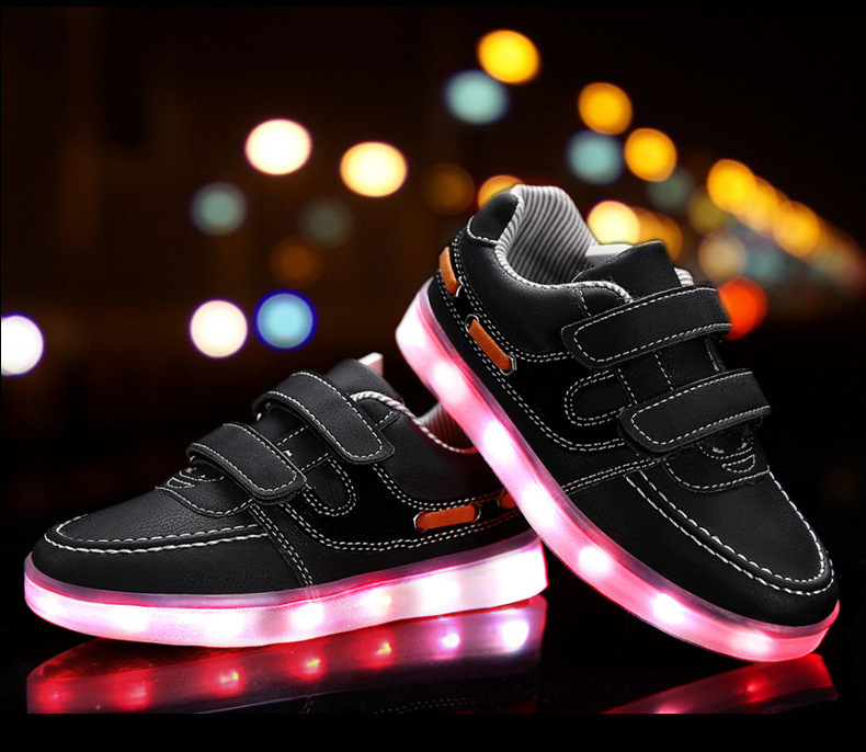 Children shoes with light 17 baby boys girls LED light shoes kids breathable fashion sneakers glowing USB charging shoes 11