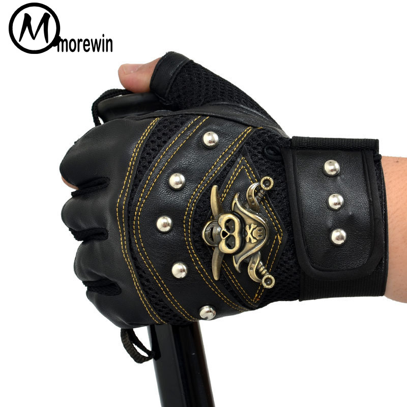 Morewin New High Quality Pirate Rivet Military Tactical Fingerless Gloves Antiskid Mittens Army Tactical Gloves Men Cool Mittens