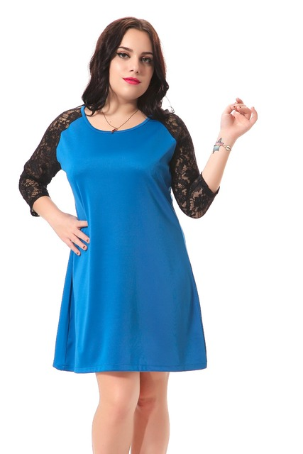 Plus Size Casual Dress With Black Lace Patchwork Sleeve Sexy Mini