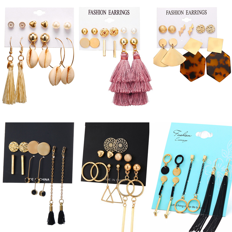 Fashion Gold Color Geometric Earring Set For Women Pearl Long Tassel Circle Korean Women Stud Earrings Set Jewelry 2019 New in Stud Earrings from Jewelry Accessories