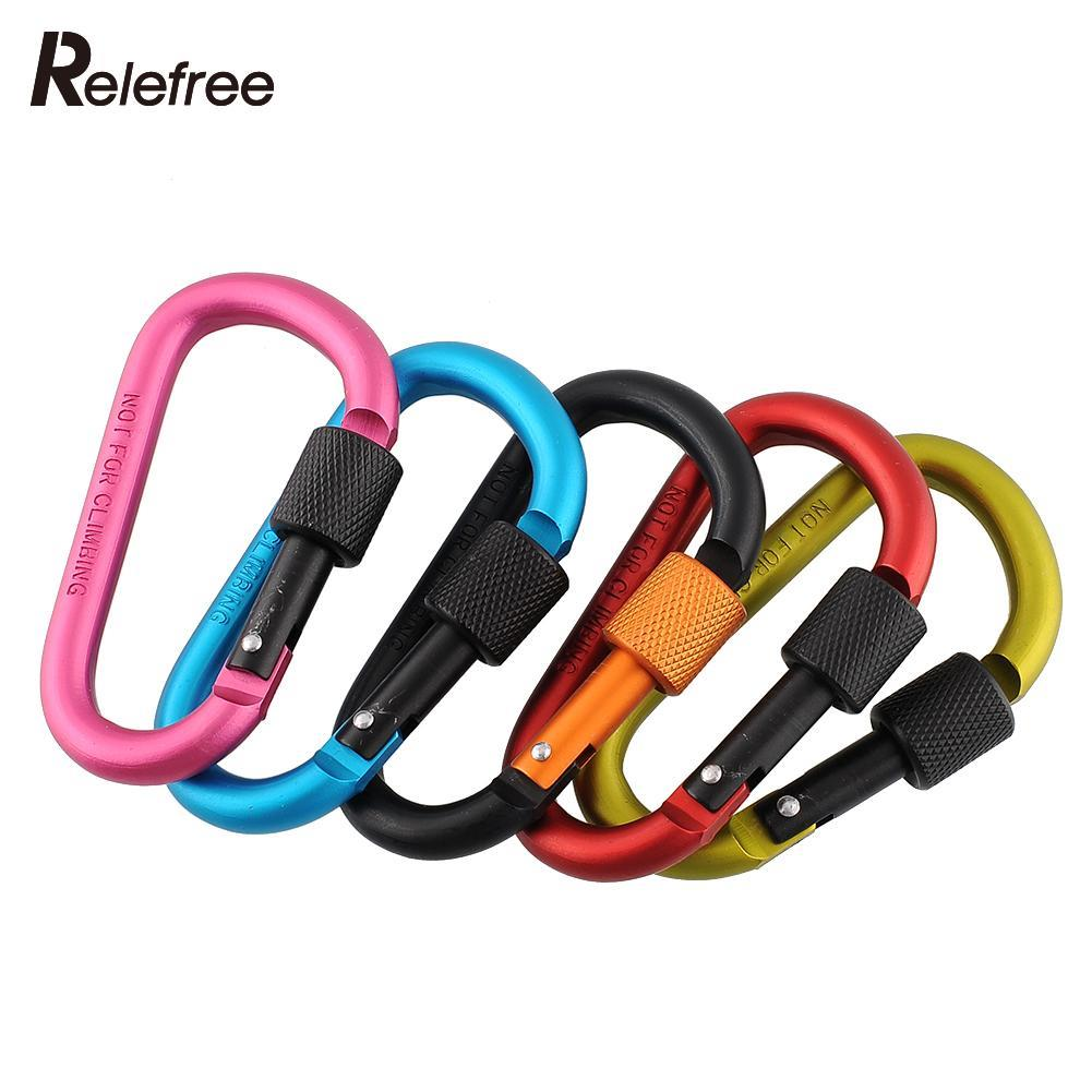 Aluminum Carabiner D-Ring Locking 8cm 120kg Key Clip Hook Snap Quickdraw For Outdoor Sport Security Camping Climbing Screwgate