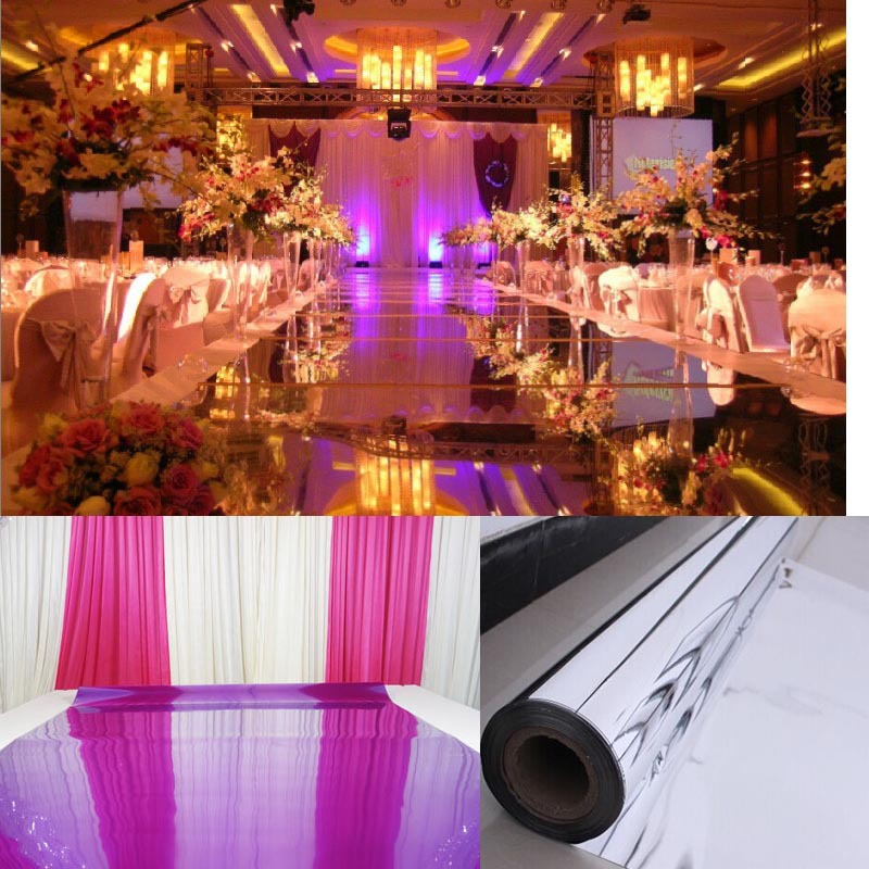 Mirror Wedding Carpet T Stage Runner Events Party Banquet Decoration Silver Purple Gold 10M 0 13mm