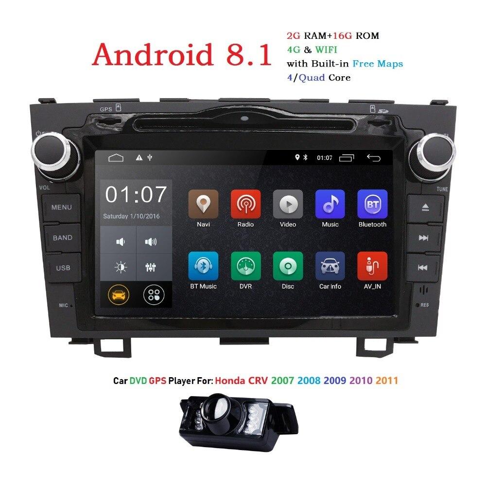 2 din voiture dvd gps Navigation Android 8.1 pour HONDA CRV CR-V 2006-2011 voiture lecteur dvd de voiture stéréo voiture radio HD 1024*600 HD-DVB-T2