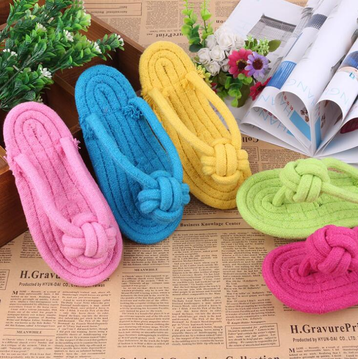 Cotton rope flip flops styles dog rope toys handmade braided pet chew toys teeth cleaning pet play toys for small dogs