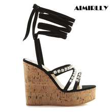 Women Cork Wedge Sky High Platform Sandals Strappy Rhinestone Ankle Wrap High Heel Summer Shoes Wholesale недорого
