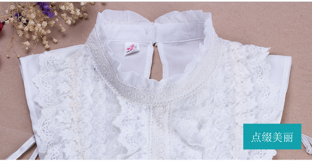 New Fungus lace fake collar retro fresh art hollow lace bottoming crystal bead new style art simple wild cotton shirt collar