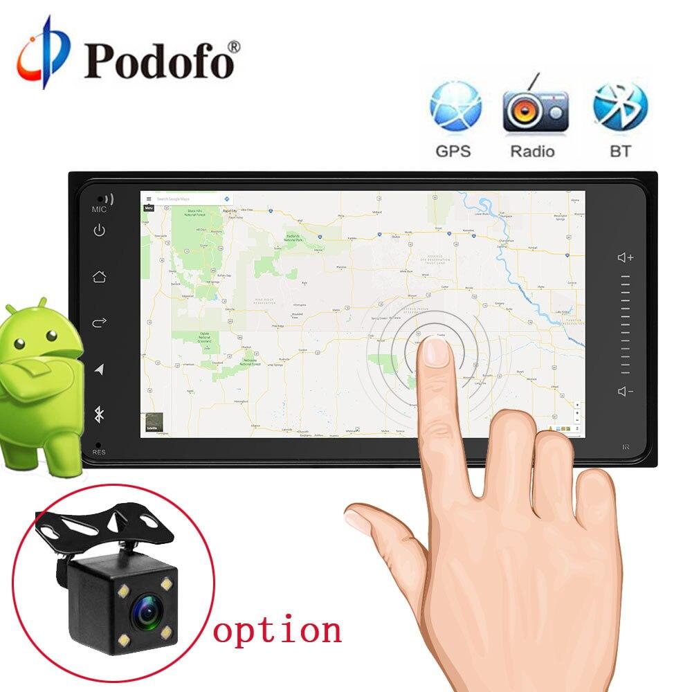 Podofo Android 2Din Autoradio GPS Navigation 7 voiture Audio Tactile Voiture Audio Voiture Lecteur Multimédia pour Toyota Avec Vue Arrière Caméra