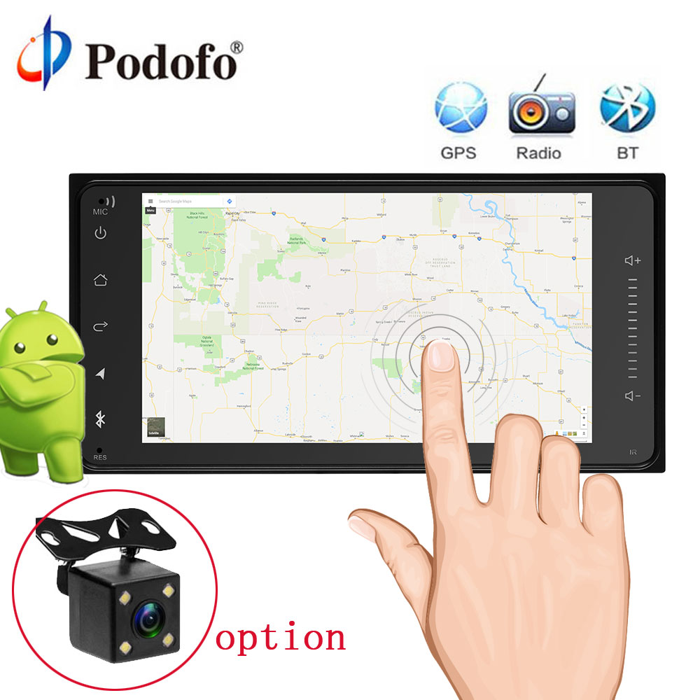 Podofo Android 2Din Car Radio GPS Navigation 7 Car Audio Touch Car Audio Car Multimedia Player