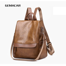 Fashion Pop Ladies Backpack Bag Retro Pu Leather Female Classic Design Wild Young Black Brown Solid Color