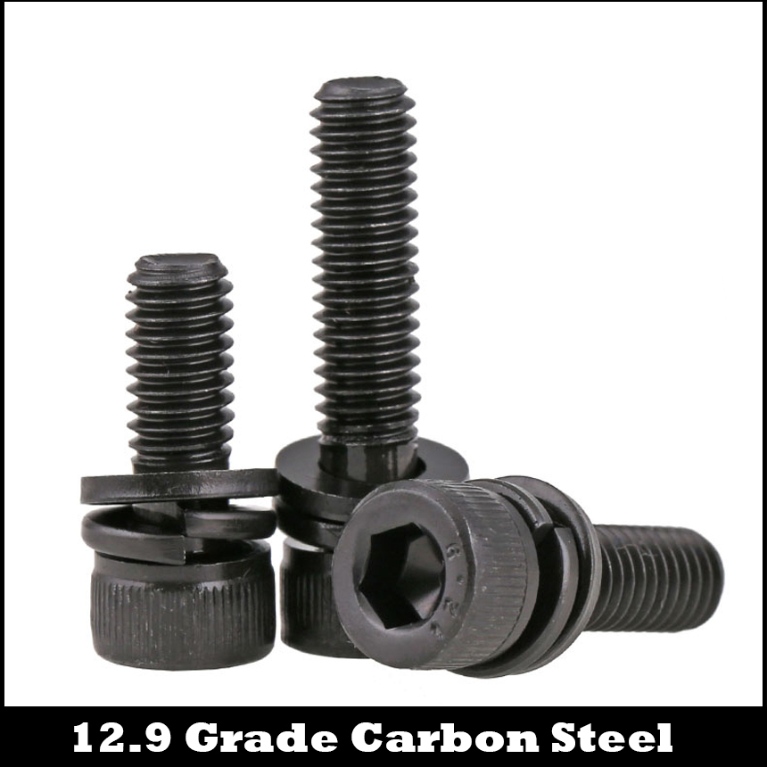 M6 M6*16/20/25 M6x16/20/25 12.9 Grade Black Carbon Steel Allen Head Hexagon Socket Bolt Spring Plain Washer Assembly Screw Set factory direct sales stainless steel hexagon socket head cap screw single coil spring lock washer and plain washer assemblies