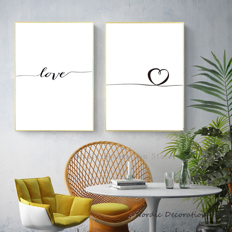 Nordic Poster Heart Picture Black White Canvas Prints Love Poster Wall Art Canvas Painting Heart Posters And Prints Unframed in Painting Calligraphy from Home Garden