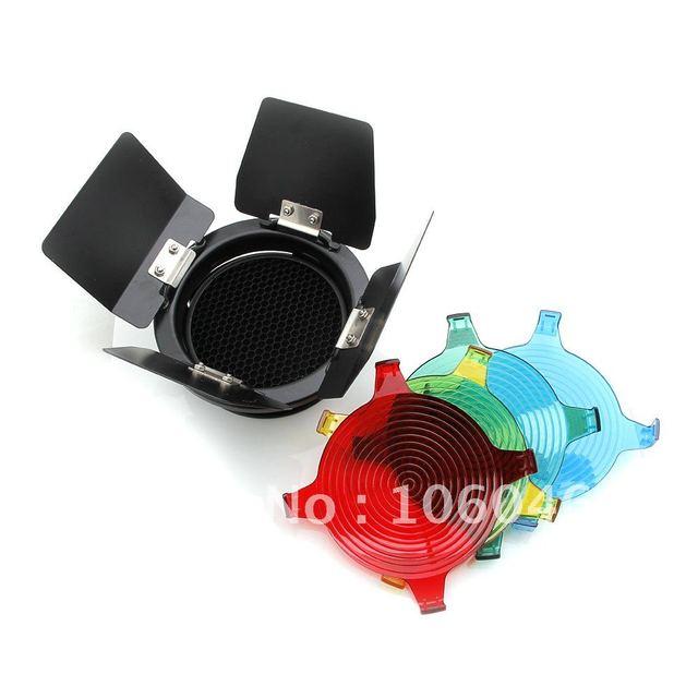 3in1 Barn Door Honeycomb Grid & Gel Color Filters Comb Photography Studio Set for Studio Flash Light (12757)
