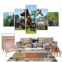 5 Pieces Canvas  Game Painting Modern Decorative Poster Cartoon Minecraft Wall Art Home Decoration