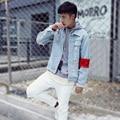 КАНЬЕ УЭСТ Классический Мужчины Женщины улица Хип-Хоп Панк 424 сломанной дыру разорвал потертые Джинсовые куртки Стиральная сделать старый джинсовые Куртки пальто