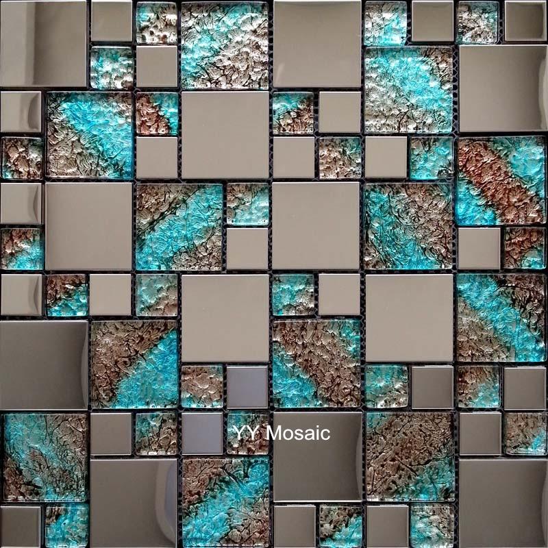 US $215.99 10% OFF|Euro Edelstahl Metall Blau Kristall Glas Mosaik fliesen  küche back TV hintergrund wand fliesen badezimmer dusche kamin dekor-in ...