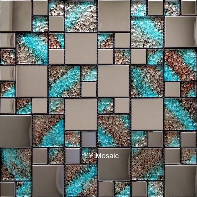 Euro Edelstahl Metall Blau Kristall Glas Mosaik Fliesen Küche Backsplash TV  Hintergrund Wand Fliesen Badezimmer