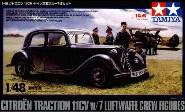 tamiya 1  48 89731 citroen traction 11cv with 7 liftwaffe crew figures plastic model kit free