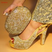 4e4e50c1a183d Doershow Chaussures Italiennes Avec Sac Assorti Ensemble Décoré Avec or couleur  Africaine Chaussures et Sac Parti