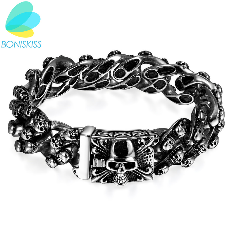 Boniskiss Domineering Gothic Stainless Steel Bracelets Punk Silver Skull Bracelets & Bangles For MEN Jewelry Christmas Gift boniskiss 2017 22mm mens sport wristband boys silver stainless steel skull bracelets biker motorcycle chain bracelet