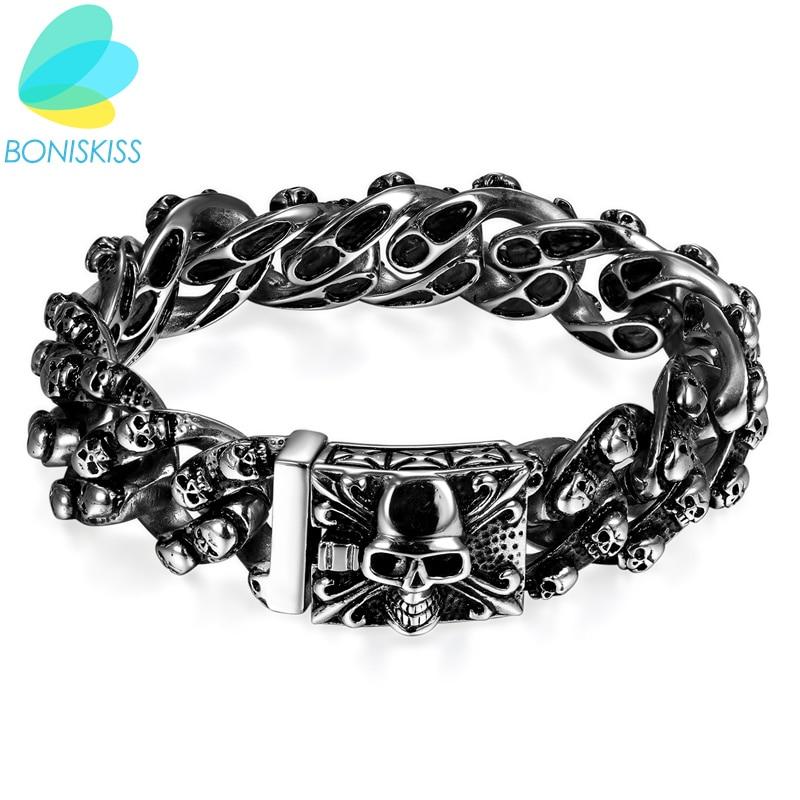 f845f5e6156b Pulseras de acero inoxidable góticas Boniskiss, pulseras y brazaletes de  calavera de plata Punk ...