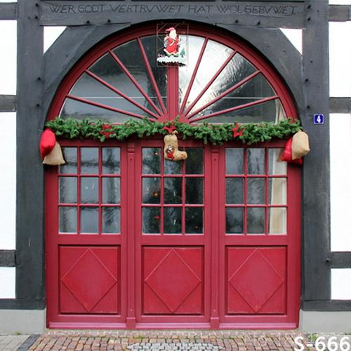 3x5FT Arch Red Door House Santa Claus Boots Bag Garland Christmas Custom  Photography Studio Backdrop Background