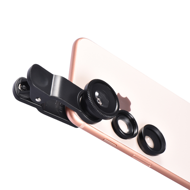 Powstro Universal 3 in 1 Wide Angle Macro Fisheye Mobile Phone Lenses Kit with Clip Fish Eye Lens for iPhone For Samsung ect