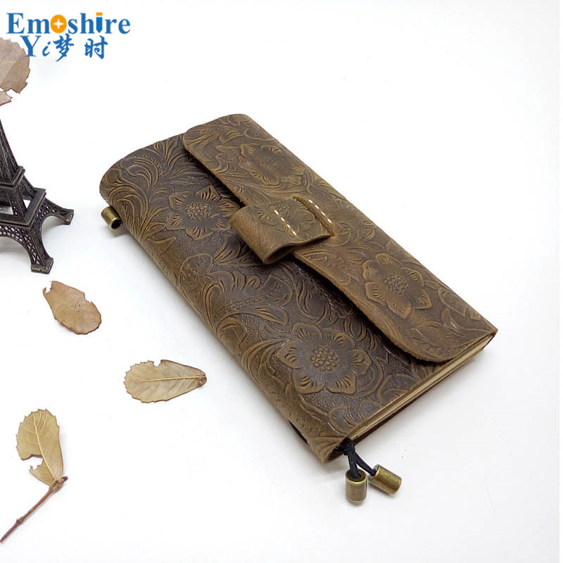 New High Quality Creative Carved Custom Leather Notebook Diy Retro Business Notebook Notepad Gift N110