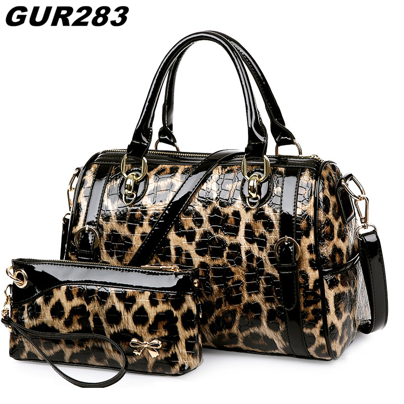 Luxury Leopard Purses and Handbags Women Designer Shoulder Bags High Quality Patent Leather Bag Set Famous Brand sac a main 2017 qiaobao luxury women bags designer handbags high quality genuine leather bag famous brand retro shoulder bag rivet sac a main