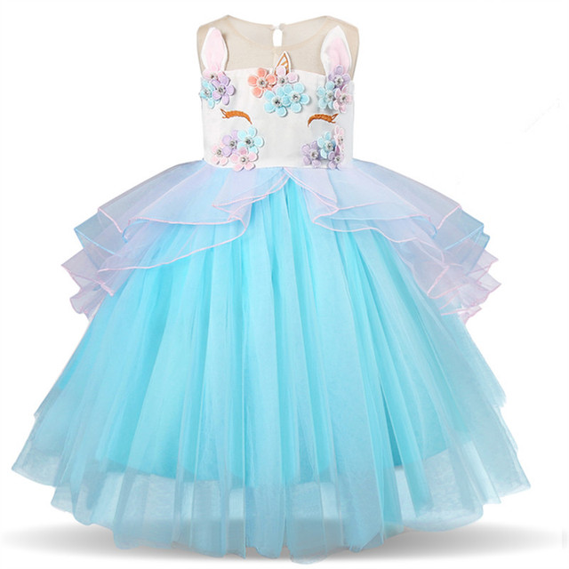 Fancy Kids Unicorn Dress For Girls Embroidery Flower Ball Gown Baby