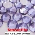 Cristal del Hotfix Rhinestones 1440 unids ss20 4.8-5.0mm Tanzanita Color Pegamento En Piedras de Cristal Para Uñas de Arte decoración de Diy