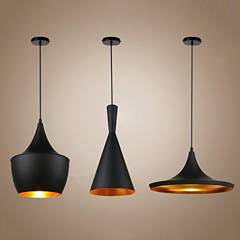 Lámparas colgantes clásicas, lámpara de techo, lámpara colgante nórdica para restaurante, cocina, luminaria con acabado interior dorado, iluminación Industrial para el hogar
