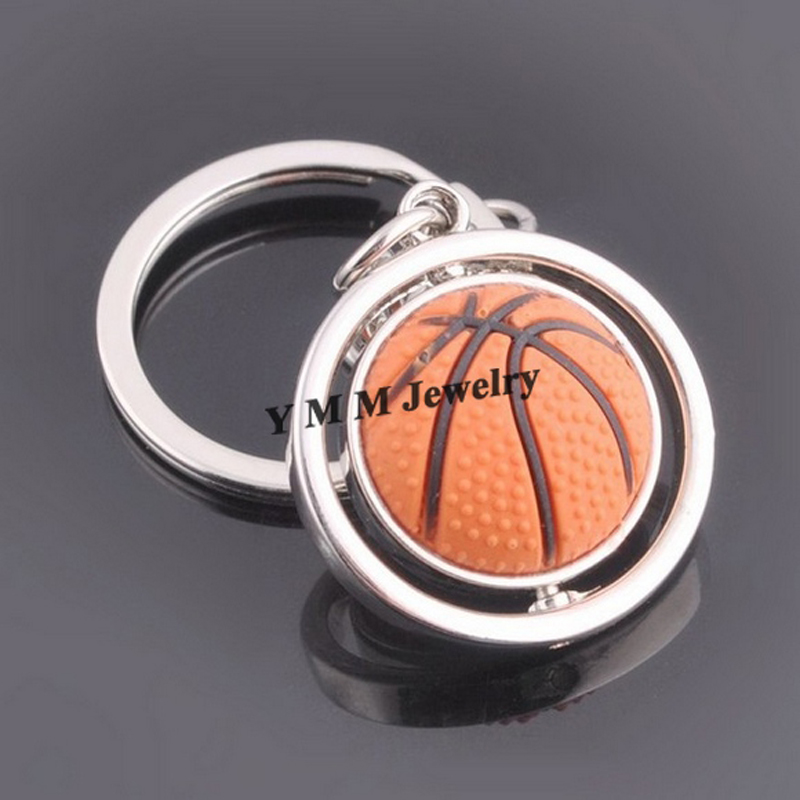 High Quality Alloy Basketball Keyrings Fashion Sports Keychains 20pcs/lot Free Shipping