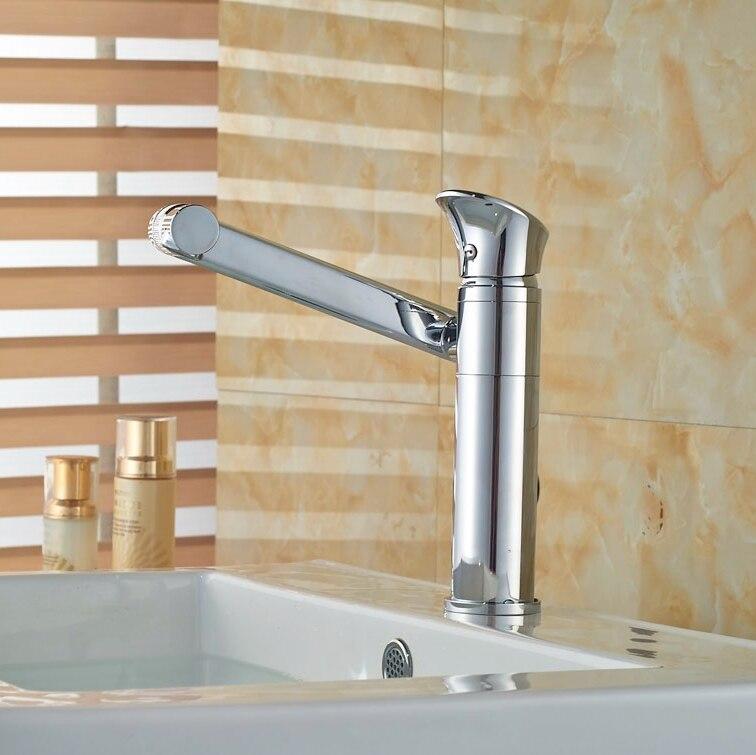 New Arrival Chorme Brass Basin Tap Bathroom Vessel Sink Tap 180 Degree Swivel Spout Mixer Faucet
