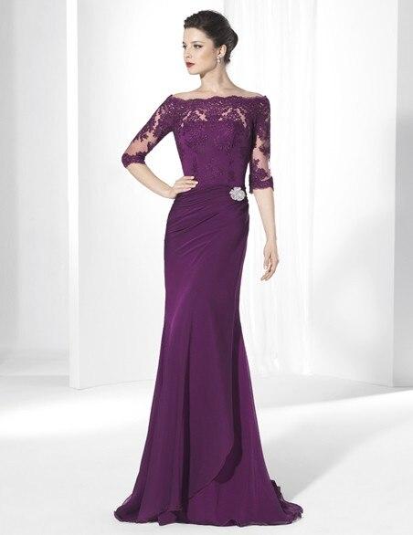 На заказ элегантные длинные вечерние платья половина рукава аппликация кружева русалка шифон формальных мать Невесты Платье для партии
