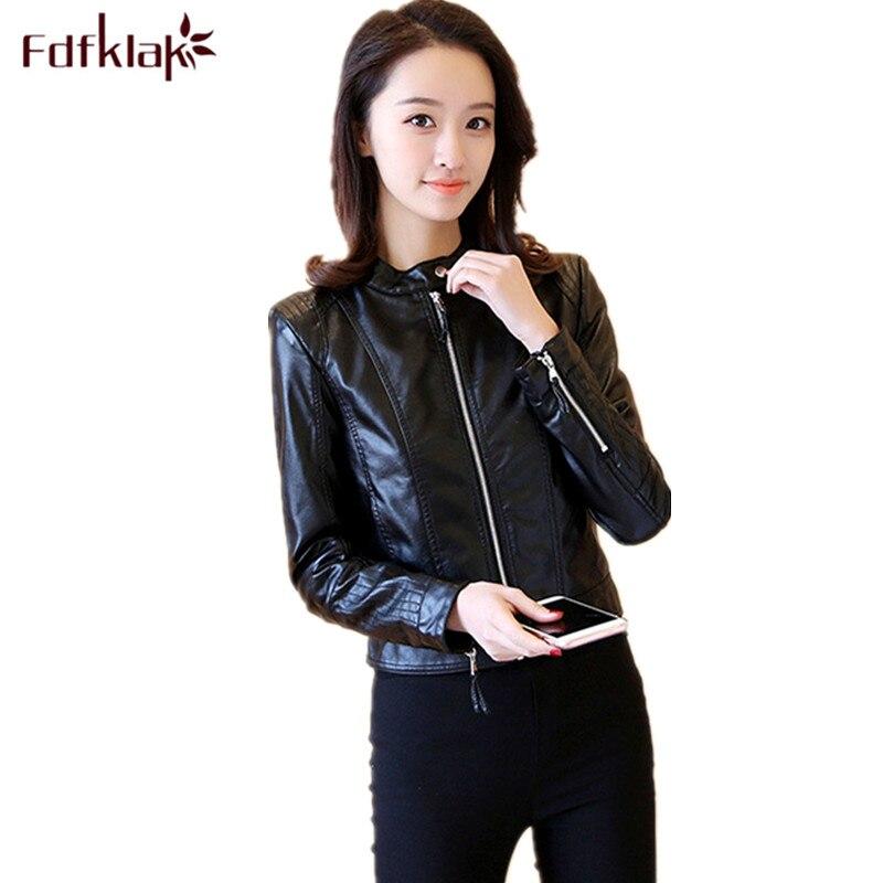 Fdfklak chaqueta mujer new moto pu   leather   jacket plus size female coat spring autumn jacket women slim   leather   coats S-3XL