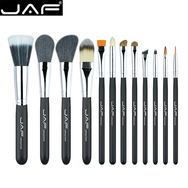 Jaf kit de pinceles de maquillaje studio holder tube portable conveniente taza de cuero 12 unids natural pelo sintético de fibra dúo j1204mcb