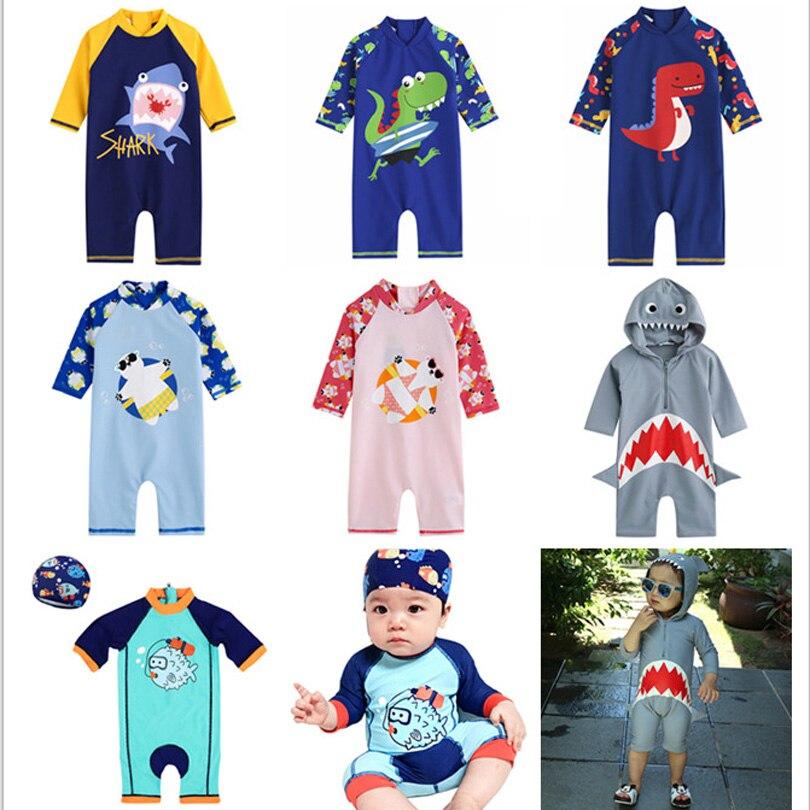 Kids Swimwear Boy One Piece Children Swimsuit Cartoon Dinosaur Shark Swimming Pool Sport Beachwear Baby Bathing Suit Toddler