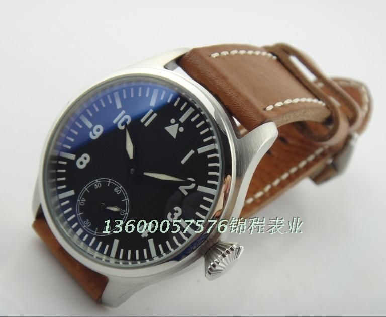 47mm PARNIS pilot seagull ST3621 manual mechanical movement s leather font b watch b font blue