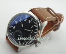 47 mm PARNIS gaviota piloto ST3621 manual movimiento mecánico de cuero reloj luz de la noche azul correa marrón
