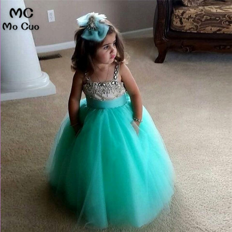 Puffy 2016 Lovely Ball Gown first communion   dresses   for   girls   kids evening gowns Crystal Green   flower     girl     dresses   for weddings