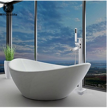Free Standing Bathroom Bathtub Faucet + Handheld Shower Chrome Finish Single Handle Tub Mixer Taps
