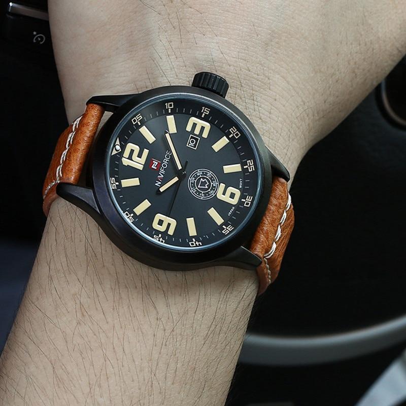 font b Watch b font men font b NAVIFORCE b font Luxury Brand Leather Strap