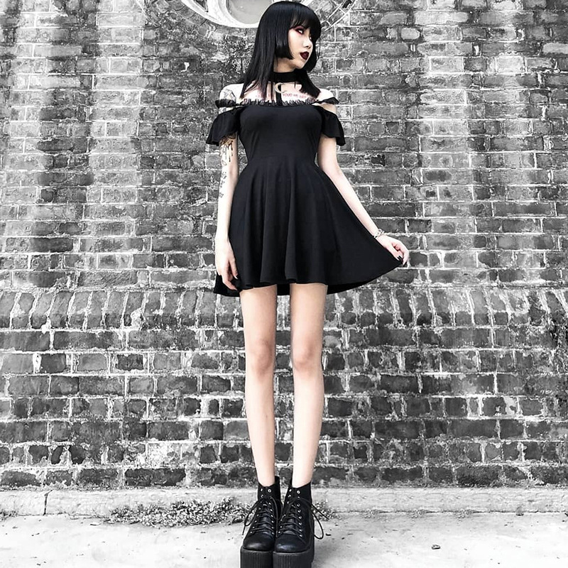 Gothic Punk Black Retro Summer Sexy Halter Strapless Moon Metal Lace Party Dress Women Harajuku Openwork Off Shoulder Dresses