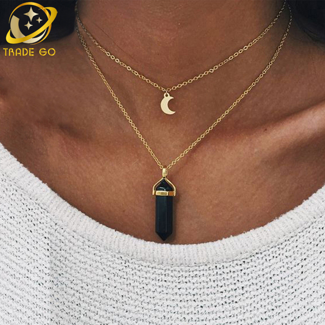 natural stone moon necklace women fashion jewelry gold color chain opal crystal necklaces pendants collier gargantilla