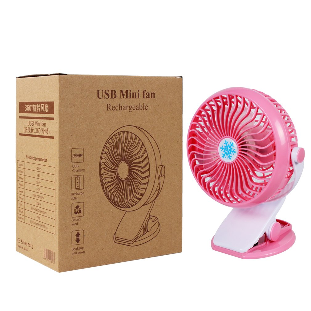 Portable Mini Desk Fan 360 Degree Rotation USB Charge Stepless Speed Clip Fan Electric Cooling Fan For Home Office blue green pink fan mini fan clip style portable fan 3 grear 360 degree rotate new design usb cooling