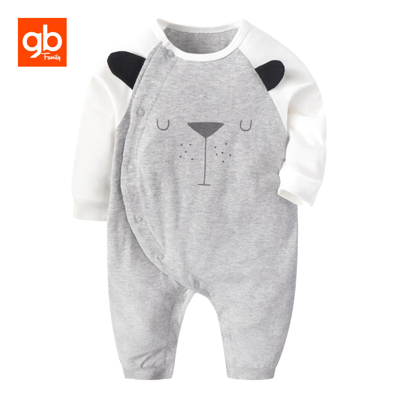 GB 100% Cotton O-neck Baby Rompers Cute Cartoon Bear Style Toddler Homewear Breathable One-piece Overall Baby Clothing for 0-18M baby rompers o neck 100