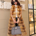 New Long Genuine Natural Silver And Red Fox Fur Vest For Women Winter Warm Gilet Ladies Luxury Waistcoat 20150829-1