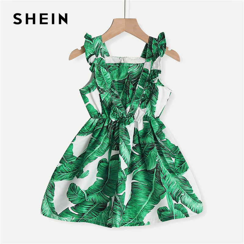 SHEIN Kiddie Green Tropical Print Zipper Back Toddler Girls Dress 2019 Summer Sleeveless Casual Frill A Line Short Dress For Kid 2018 summer new fashion dress